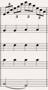 Arpeggio, upprepade toner
